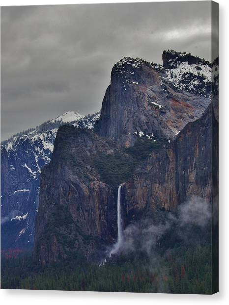 Canvas Print featuring the photograph Falls In Yosemite A by Phyllis Spoor