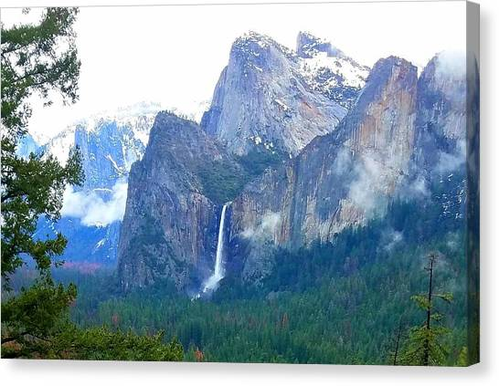 Canvas Print featuring the photograph Falls In Yosemite C by Phyllis Spoor