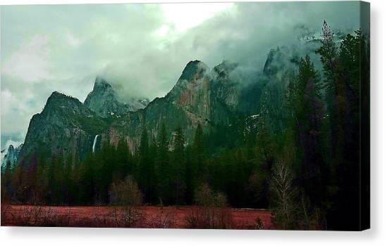 Canvas Print featuring the photograph Falls In Yosemite D by Phyllis Spoor