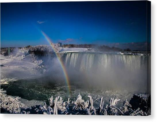 Falls Misty Rainbow  Canvas Print