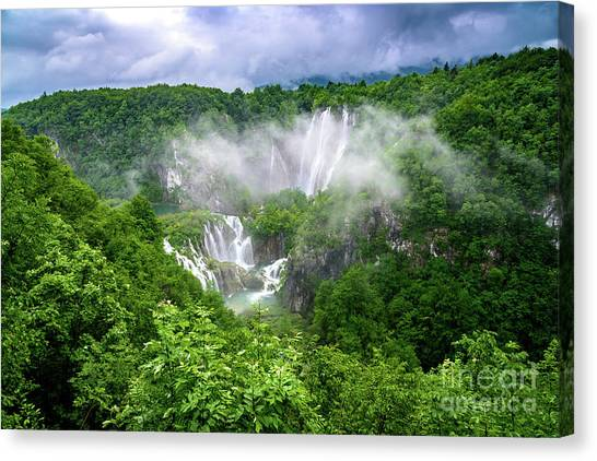 Falls Through The Fog - Plitvice Lakes National Park Croatia Canvas Print