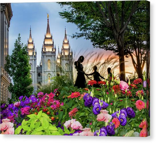 Mormon Canvas Print - Families Are Forever by La Rae  Roberts