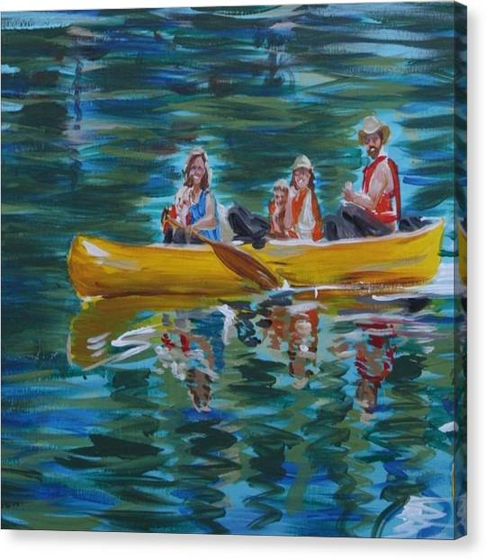 Family Canoe Trip From Spring 1 Canvas Print