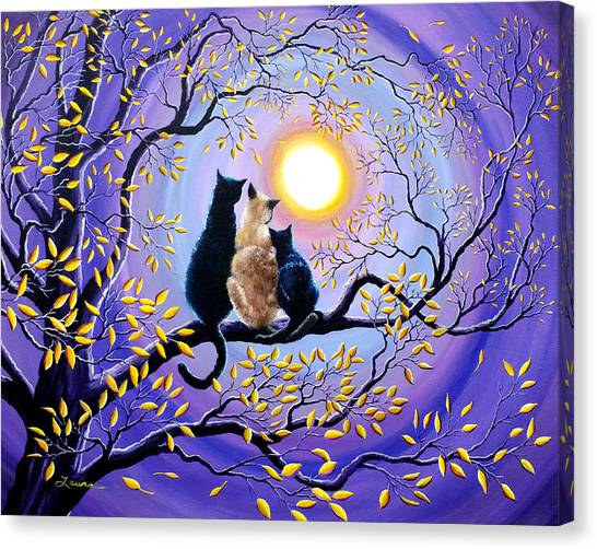 Siamese Canvas Print - Family Moon Gazing Night by Laura Iverson