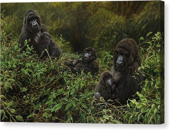 Canvas Print featuring the painting Family Of Gorillas by Alan M Hunt