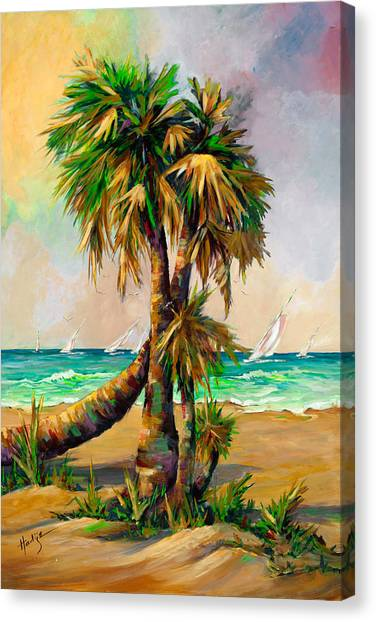 Family Of Palm Trees With Sail Boats Canvas Print by Mary DuCharme