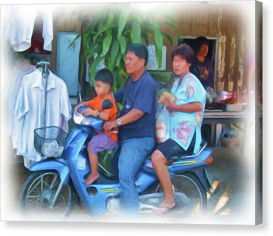 Family On Bike Canvas Print