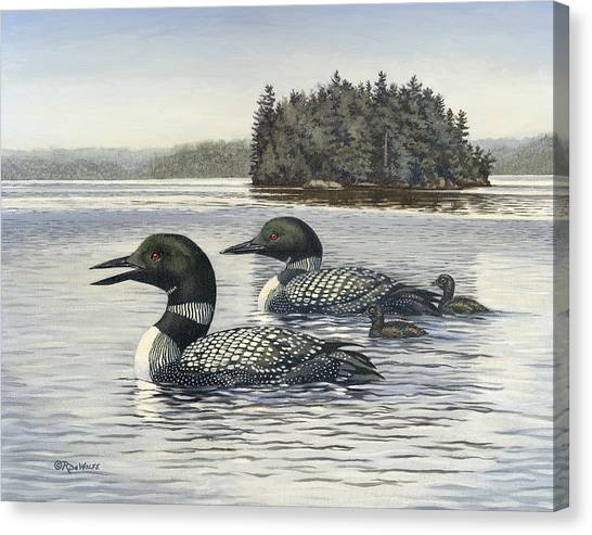 Loons Canvas Print - Family Outing by Richard De Wolfe