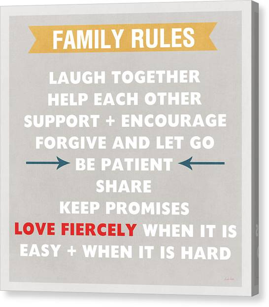 Books Canvas Print - Family Rules by Linda Woods