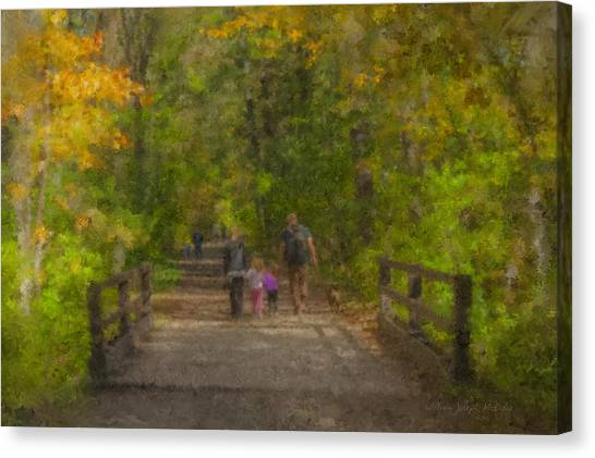 Family Walk At Borderland Canvas Print