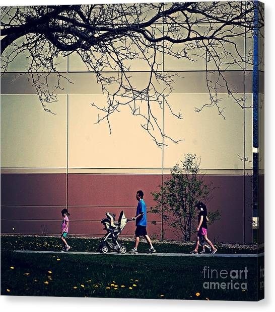Family Walk To The Park Canvas Print