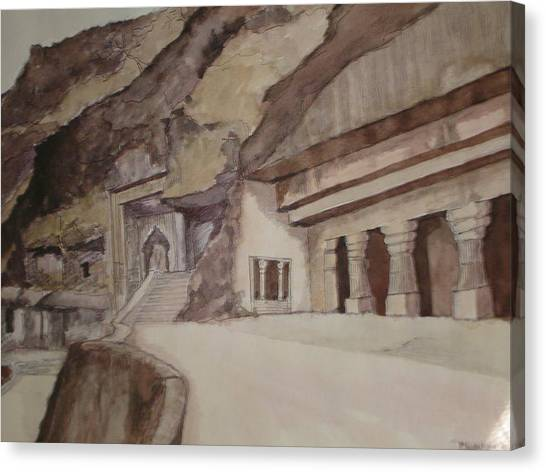 famous Ajantha Caves Canvas Print by Bhalchandra Salunkhe