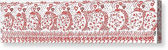 Canvas Print featuring the drawing Fancy Reds by Corinne Carroll