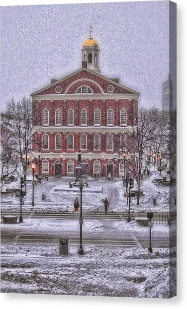 Faneuil Hall Snow Canvas Print