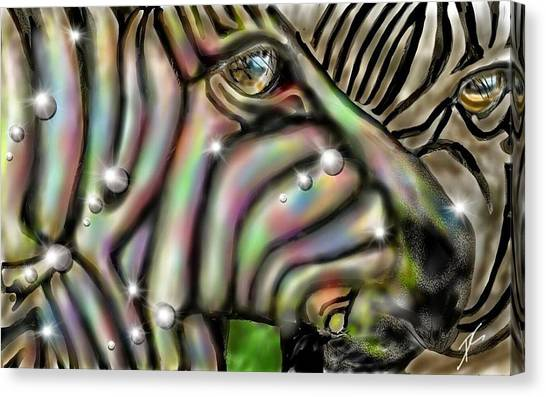 Canvas Print featuring the digital art Fantastic Zebra by Darren Cannell