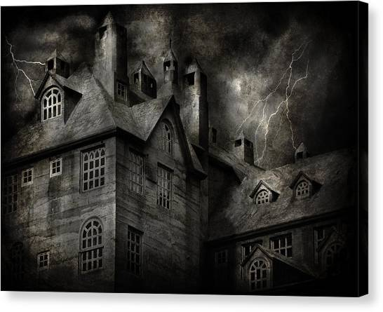Haunted House Canvas Print - Fantasy - Haunted - It Was A Dark And Stormy Night by Mike Savad
