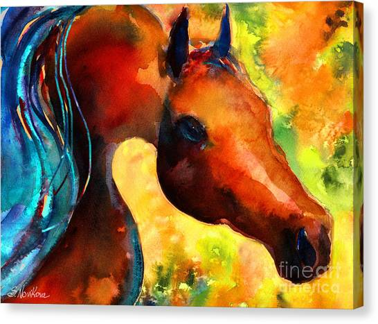 Watercolor Pet Portraits Canvas Print - Fantasy Arabian Horse by Svetlana Novikova
