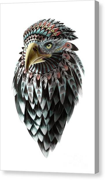 Canvas Print featuring the painting Fantasy Eagle by Sassan Filsoof