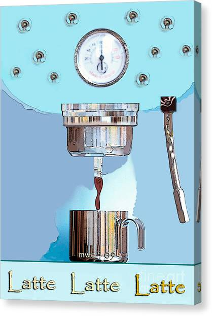 Canvas Print featuring the painting Fantasy Espresso Machine by Marian Cates