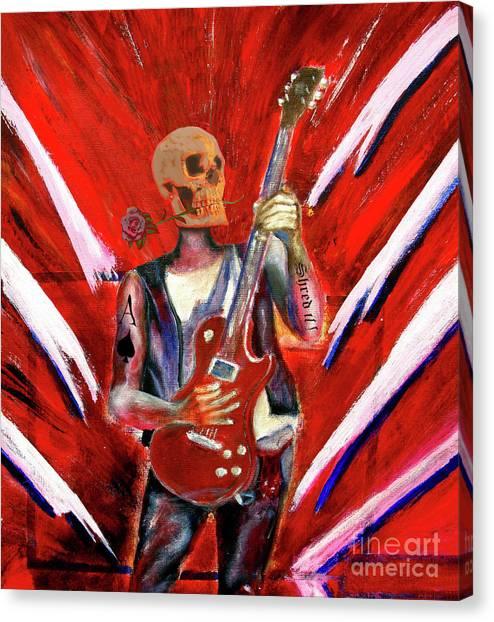 Fantasy Heavy Metal Skull Guitarist Canvas Print