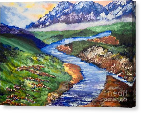 Canvas Print featuring the painting Fantasy by Saundra Johnson