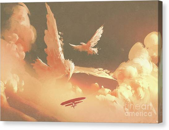 Canvas Print featuring the painting Fantasy Sky by Tithi Luadthong