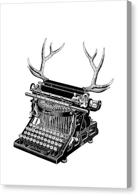 Historical Canvas Print - Fantasy Typewriter by Madame Memento
