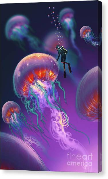Canvas Print featuring the painting Fantasy Underworld by Tithi Luadthong