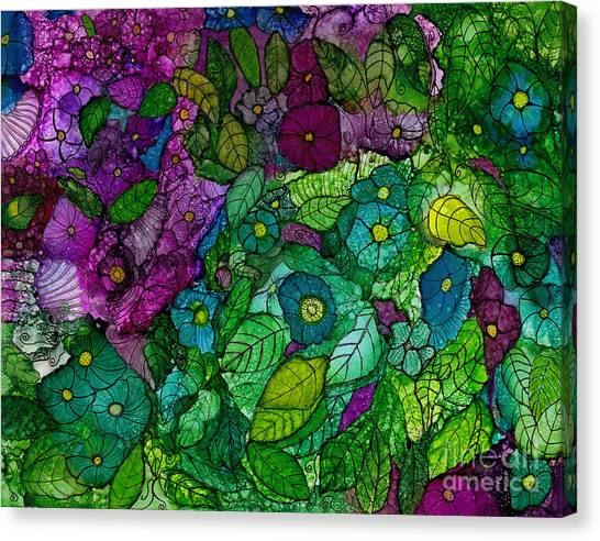 Fantasy Zen Flowers In Alcohol Ink Canvas Print