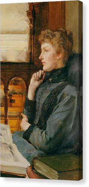 Chin Canvas Print - Far Away Thoughts by Sir Lawrence Alma-Tadema