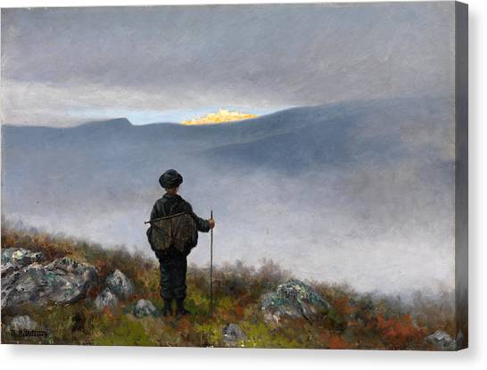 Canvas Print featuring the painting Far Far Away Soria Moria Palace Shimmered Like Gold by Theodor Kittelsen