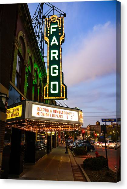 North Dakota Canvas Print - Fargo Theater And Downtown Along Broadway Drive by Paul Velgos