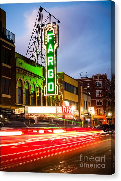 North Dakota Canvas Print - Fargo Theatre And Downtown Buidlings At Night by Paul Velgos