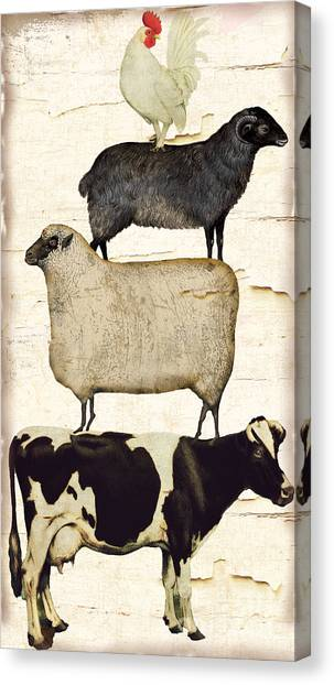 Cow Canvas Print - Farm Animals Pileup by Mindy Sommers