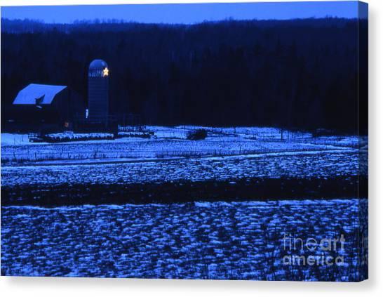 Farm At Christmas Canvas Print by Timothy Johnson