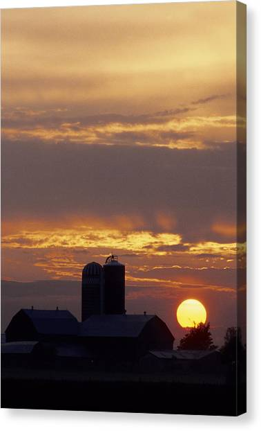 Farm At Sunset Canvas Print