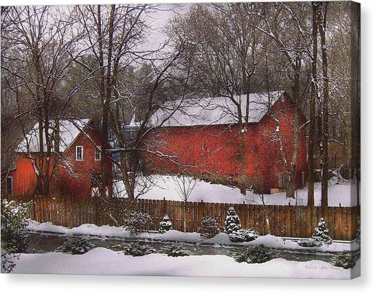 Farm - Barn - Winter In The Country  Canvas Print