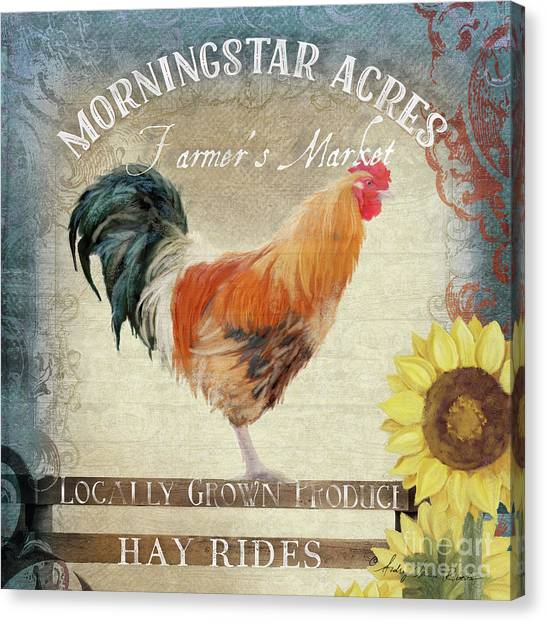 Locally Grown Canvas Print - Farm Fresh Barnyard Rooster Morning Sunflower Rustic by Audrey Jeanne Roberts