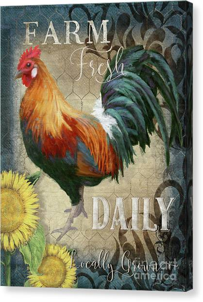 Chicken Farms Canvas Print - Farm Fresh Daily Red Rooster Sunflower Farmhouse Chic by Audrey Jeanne Roberts