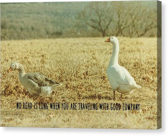 Farm Geese Quote Canvas Print by JAMART Photography