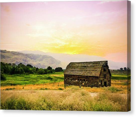 Twilight At The Okanagan Farm House Canada Canvas Print