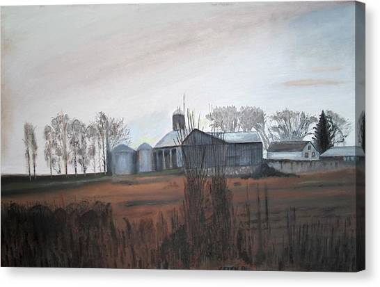 Farm In The Fall Canvas Print by Keith Bagg