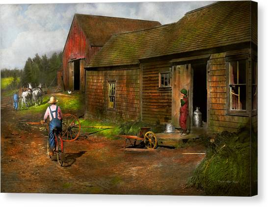 Wheel Barrows Canvas Print - Farm - Life On The Farm 1940s by Mike Savad