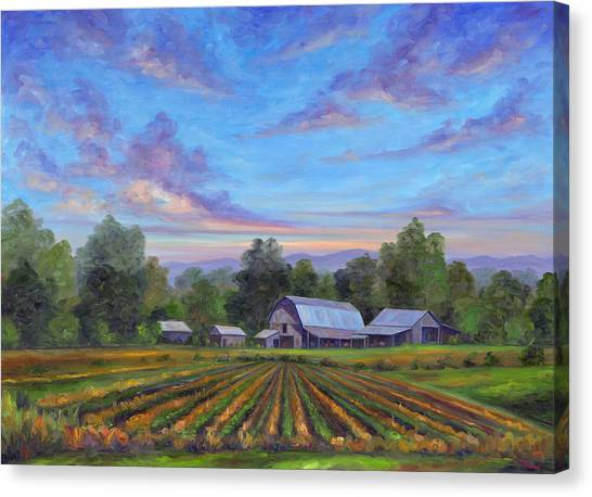 Mountain Sunset Canvas Print - Farm On Glenn Bridge by Jeff Pittman