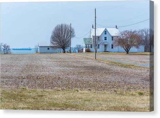 Farm On The Bay Canvas Print