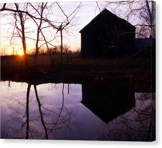 Farm Pond At Sunset Canvas Print by George Ferrell