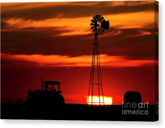 Canvas Print featuring the photograph Farm Silhouettes by Brad Allen Fine Art