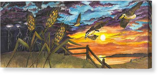 Canvas Print featuring the painting Farm Sunset by Darren Cannell