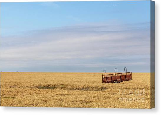 Farm Trailer In The Middle Of Field Canvas Print
