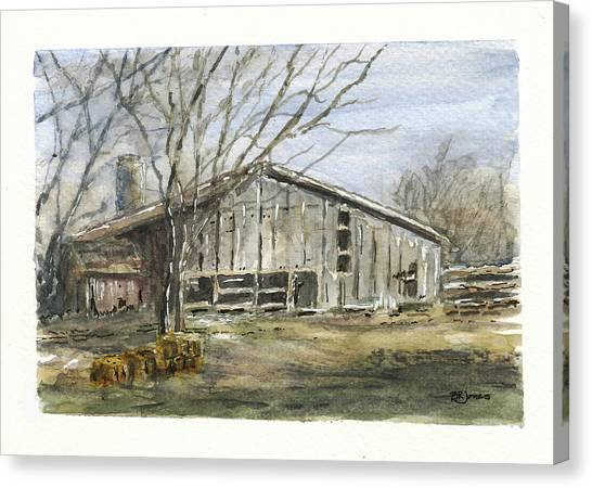 Canvas Print featuring the photograph Farm Winter by Barry Jones